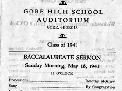 Gore High School graduation program 1941, Gore was the first accredited high school in the county