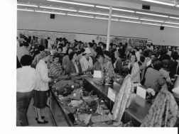 Opening day 1961 at Riegel Fabrics in the Triangle Shopping Center, Trion