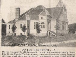 Summerville 1st Baptist church. This building burned in 1934
