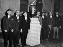 Dedication of VFW Eternal Flame in front of the courthouse , 1969 ( Identified are Atty.TJ Espy and Rice Morgan