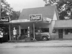 Fill er up at Coplands in Lyerly in 1951