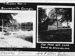 Dr. Selmans cabin and lake , circa 1933 Christmas card