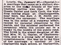 "Interesting wedding ""in the middle of the road"" in Chattoogaville in 1915."